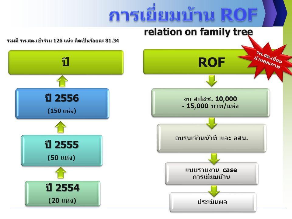 ปี ปี 2556 (150 แห่ง) ปี 2555 (50 แห่ง) ปี 2554 (20 แห่ง) ROF งบ สปสช. 10,000 - 15,000 บาท/แห่ง อบรมเจ้าหน้าที่ และ อสม. แบบรายงาน case การเยี่ยมบ้าน