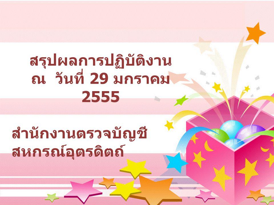 สรุปผลการปฏิบัติงาน ณ วันที่ 29 มกราคม 2555 สำนักงานตรวจบัญชี สหกรณ์อุตรดิตถ์