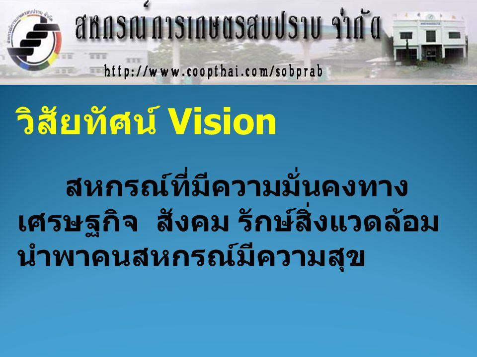 วิสัยทัศน์ Vision สหกรณ์ที่มีความมั่นคงทาง เศรษฐกิจ สังคม รักษ์สิ่งแวดล้อม นำพาคนสหกรณ์มีความสุข