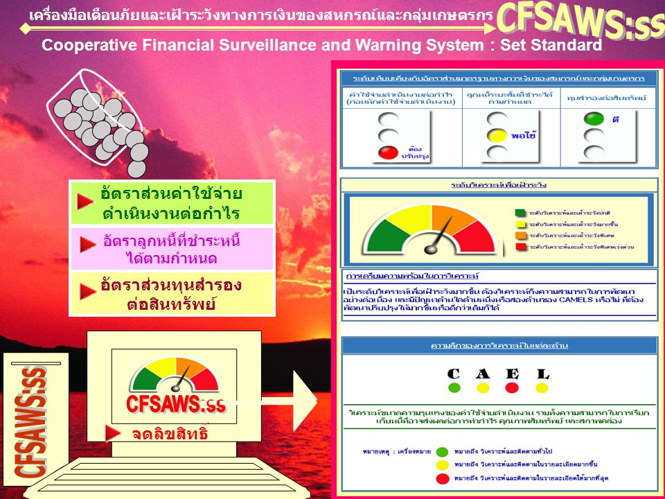 เครื่องมือเตือนภัยและเฝ้าระวังทางการเงินของสหกรณ์และกลุ่มเกษตรกร Cooperative Financial Surveillance and Warning System : Set Standard อัตราส่วนค่าใช้จ่าย ดำเนินงานต่อกำไร อัตราลูกหนี้ที่ชำระหนี้ ได้ตามกำหนด อัตราส่วนทุนสำรอง ต่อสินทรัพย์ จดลิขสิทธิ์