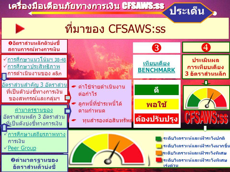 ที่มาของ CFSAWS:ss ประเด็น  อัตราส่วนหลักตัวบ่งชี้ สถานการณ์ทางการเงิน เทียบเคียง BENCHMARK   การศึกษาแนวโน้มฯ 38-48 การศึกษาแนวโน้มฯ 38-48  การศึกษาประสิทธิภาพ การศึกษาประสิทธิภาพ  การดำเนินงานของ ส&ก ประเมินผล การเทียบเคียง 3 อัตราส่วนหลัก ดี พอใช้ ต้องปรับปรุง  ระดับวิเคราะห์และเฝ้าระวังปกติ ระดับวิเคราะห์และเฝ้าระวังมากขึ้น ระดับวิเคราะห์และเฝ้าระวังพิเศษ เร่งด่วน  ค่ามาตรฐานของ อัตราส่วนตัวบ่งชี้  การศึกษาเสถียรภาพทาง การศึกษาเสถียรภาพทาง  การเงิน  Peer Group Peer Group อัตราส่วนสำคัญ 3 อัตราส่วน ที่เป็นตัวบ่งชี้ทางการเงิน ของสหกรณ์และกลุ่มฯ  ค่าใช้จ่ายดำเนินงาน ต่อกำไร  ลูกหนี้ที่ชำระหนี้ได้ ตามกำหนด  ทุนสำรองต่อสินทรัพย์ ค่ามาตรฐานของ อัตราส่วนหลัก 3 อัตราส่วน ที่เป็นตังบ่งชี้ทางการเงิน