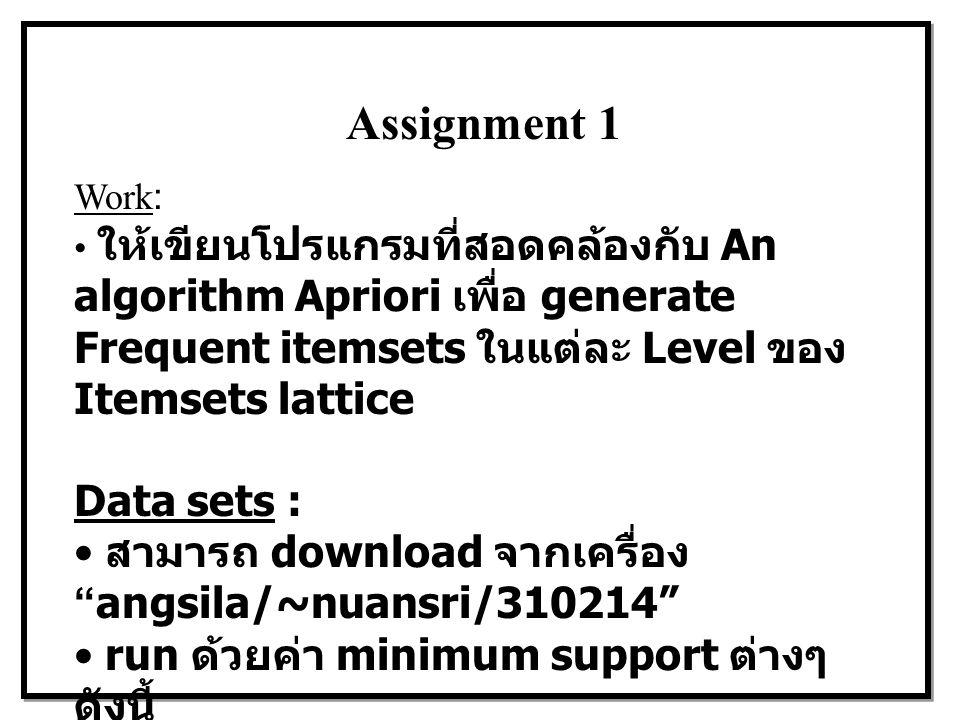 Assignment 1 Work: ให้เขียนโปรแกรมที่สอดคล้องกับ An algorithm Apriori เพื่อ generate Frequent itemsets ในแต่ละ Level ของ Itemsets lattice Data sets : สามารถ download จากเครื่อง angsila/~nuansri/310214 run ด้วยค่า minimum support ต่างๆ ดังนี้ xt10.data ==> minsup = 20%, 15%, และ 10% tr2000.data ==> minsup= 10%, 8% และ 5%