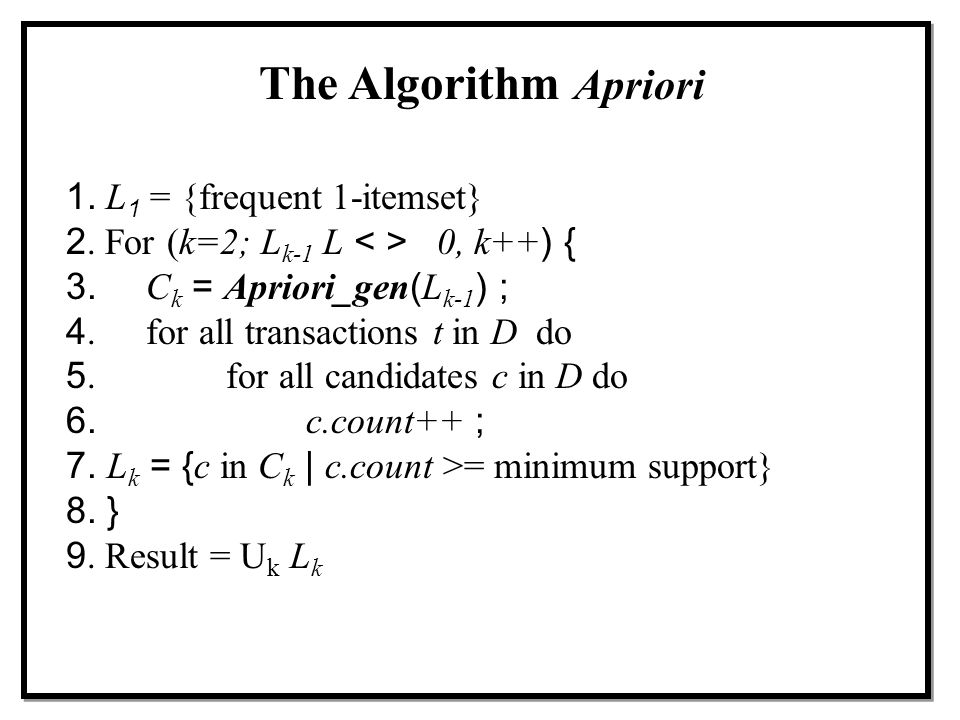 The Algorithm Apriori 1. L 1 = {frequent 1-itemset} 2. For (k=2; L k-1 L 0, k++) { 3.C k = Apriori_gen(L k-1 ) ; 4. for all transactions t in D do 5.