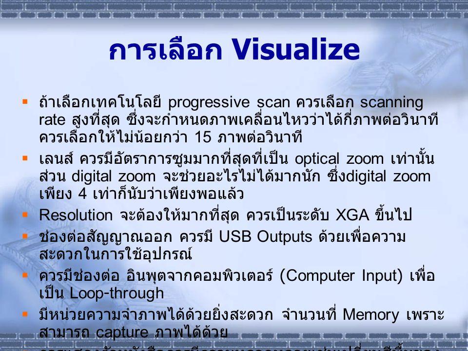 การเลือก Visualize  ถ้าเลือกเทคโนโลยี progressive scan ควรเลือก scanning rate สูงที่สุด ซึ่งจะกำหนดภาพเคลื่อนไหวว่าได้กี่ภาพต่อวินาที ควรเลือกให้ไม่น