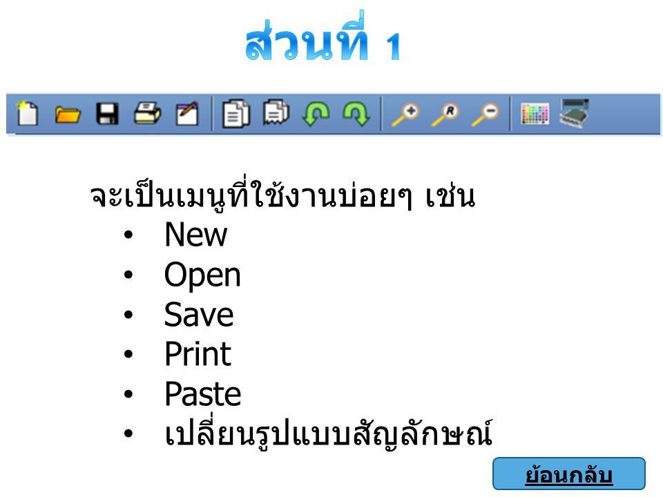 จะเป็นเมนูที่ใช้งานบ่อยๆ เช่น New Open Save Print Paste เปลี่ยนรูปแบบสัญลักษณ์ ย้อนกลับ