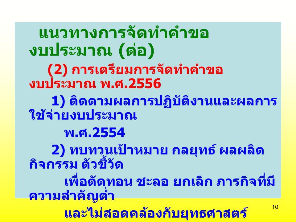 9 แนวทางการจัดทำคำขอ งบประมาณ (1) ความสอดคล้อง 1) แผนบริหารราชการแผ่นดิน 2) แผนปฏิบัติราชการ 4 ปี 3) แผนปฏิบัติราชการประจำปี 4) บูรณาการงบประมาณในมิติ