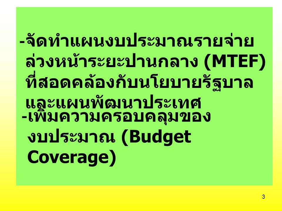 3 - จัดทำแผนงบประมาณรายจ่าย ล่วงหน้าระยะปานกลาง (MTEF) ที่สอดคล้องกับนโยบายรัฐบาล และแผนพัฒนาประเทศ - เพิ่มความครอบคลุมของ งบประมาณ (Budget Coverage)