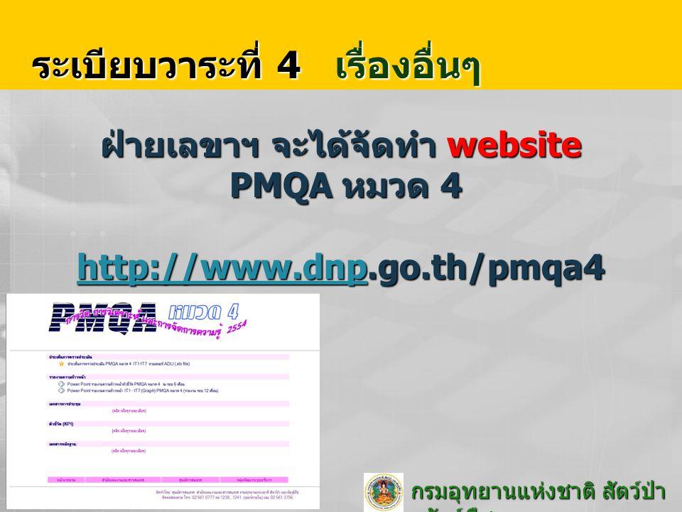 กรมอุทยานแห่งชาติ สัตว์ป่า และพันธุ์พืช กรมอุทยานแห่งชาติ สัตว์ป่า และพันธุ์พืช ระเบียบวาระที่ 4 เรื่องอื่นๆ ฝ่ายเลขาฯ จะได้จัดทำ website PMQA หมวด 4 http://www.dnp.go.th/pmqa4 http://www.dnp