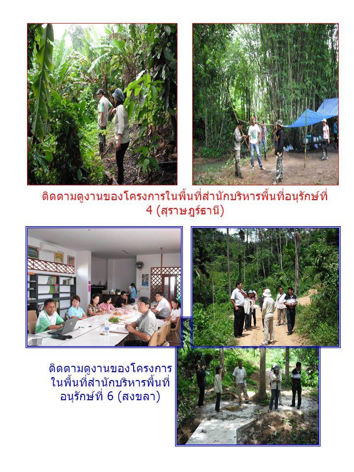 ติดตามดูงานของโครงการในพื้นที่สำนักบริหารพื้นที่อนุรักษ์ที่ 4 ( สุราษฎร์ธานี ) ติดตามดูงานของโครงการ ในพื้นที่สำนักบริหารพื้นที่ อนุรักษ์ที่ 6 ( สงขลา )
