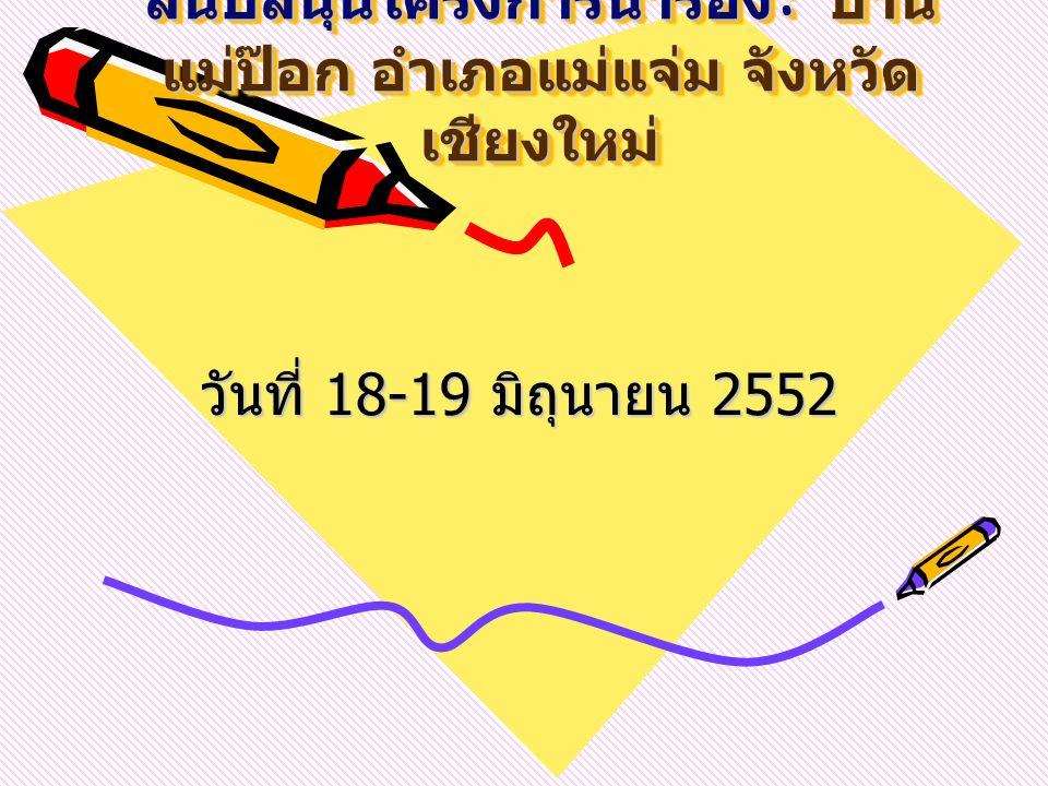 การสำรวจพื้นที่เพื่อจัดทำ และ สนับสนุนโครงการนำร่อง : บ้าน แม่ป๊อก อำเภอแม่แจ่ม จังหวัด เชียงใหม่ วันที่ 18-19 มิถุนายน 2552