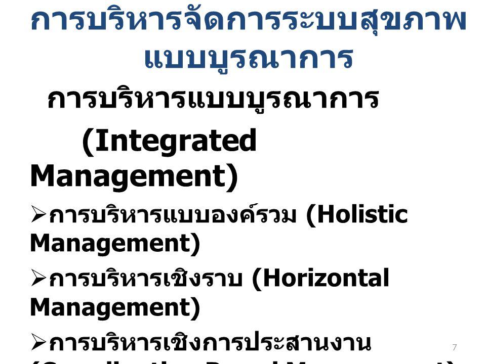 การบริหารจัดการระบบสุขภาพ แบบบูรณาการ การบริหารแบบบูรณาการ (Integrated Management)  การบริหารแบบองค์รวม (Holistic Management)  การบริหารเชิงราบ (Hor