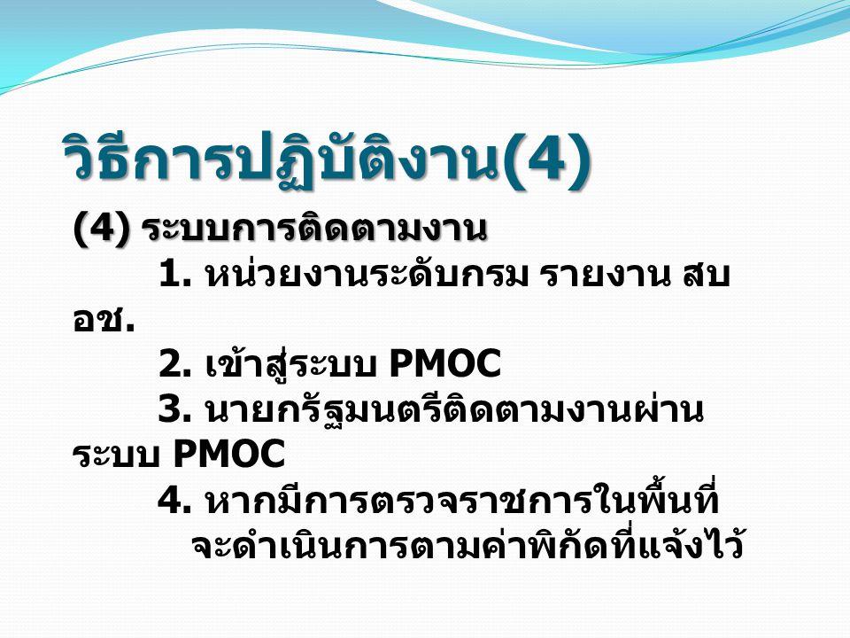 วิธีการปฏิบัติงาน (4) (4) ระบบการติดตามงาน 1. หน่วยงานระดับกรม รายงาน สบ อช. 2. เข้าสู่ระบบ PMOC 3. นายกรัฐมนตรีติดตามงานผ่าน ระบบ PMOC 4. หากมีการตรว