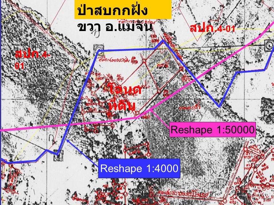 Reshape 1:50000 Reshape 1:4000 ป่าสบกกฝั่ง ขวา อ. แม่จัน สปก. 4- 01 สปก. 4-01 โฉนด ที่ดิน