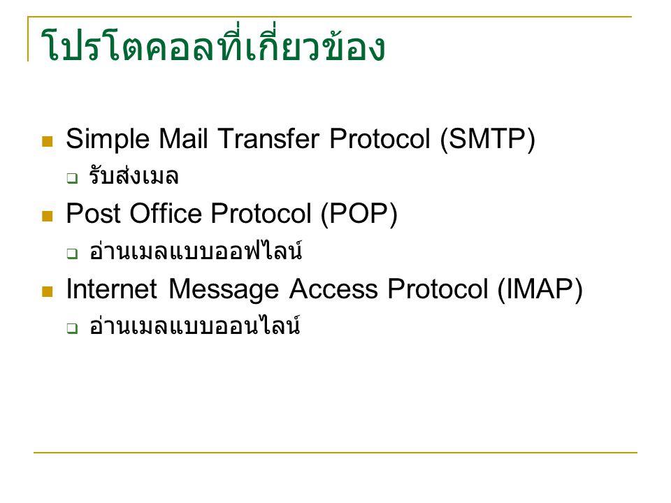 โปรโตคอลที่เกี่ยวข้อง Simple Mail Transfer Protocol (SMTP)  รับส่งเมล Post Office Protocol (POP)  อ่านเมลแบบออฟไลน์ Internet Message Access Protocol