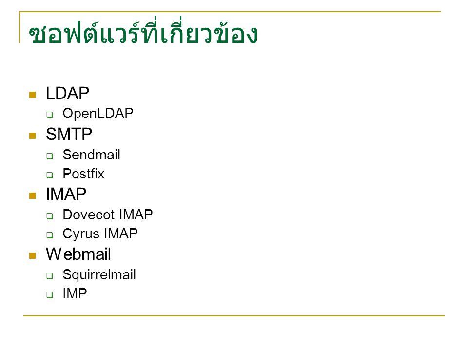 การทำงานของ Dovecot IMAP imapdauthdaemon Maildir clients slapd