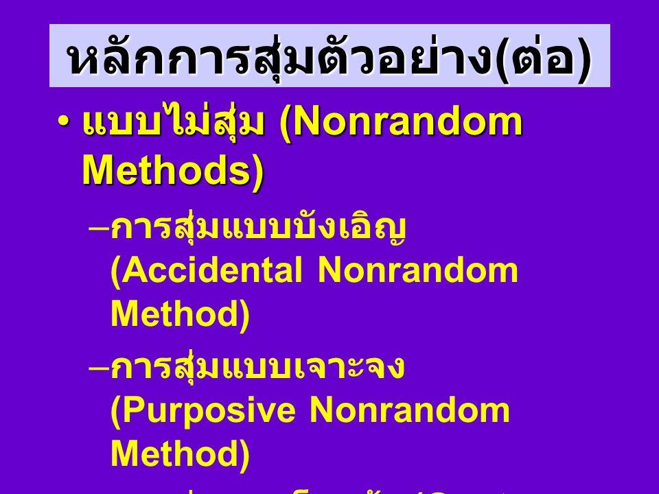 การสุ่มแบบกลุ่ม (Cluster Random Method) N1 N2N3 N1 N3 จับฉลาก มีตัวแบ่ง เช่น จังหวัด โรงเรียน