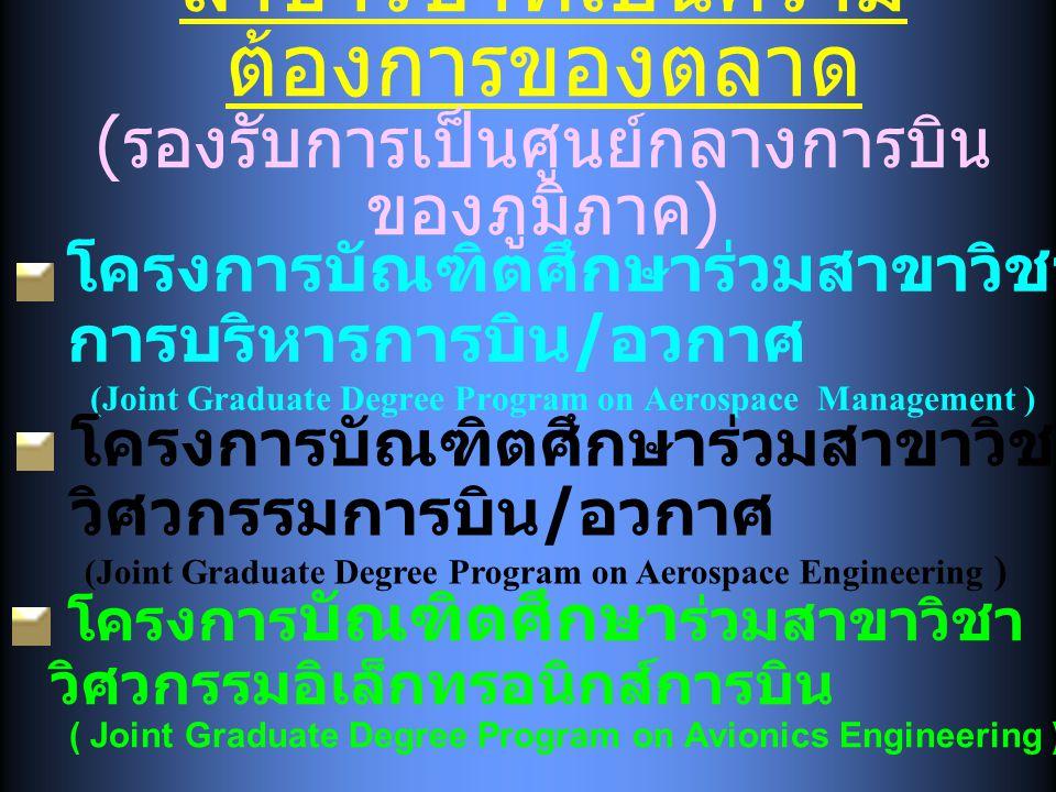 สาขาวิชาที่เป็นความ ต้องการของตลาด ( รองรับการเป็นศูนย์กลางการบิน ของภูมิภาค ) โครงการบัณฑิตศึกษาร่วมสาขาวิชา การบริหารการบิน / อวกาศ (Joint Graduate Degree Program on Aerospace Management ) โครงการบัณฑิตศึกษาร่วมสาขาวิชา วิศวกรรมการบิน / อวกาศ (Joint Graduate Degree Program on Aerospace Engineering ) โครงการ บัณฑิตศึกษา ร่วมสาขาวิชา วิศวกรรมอิเล็กทรอนิกส์การบิน ( Joint Graduate Degree Program on Avionics Engineering )