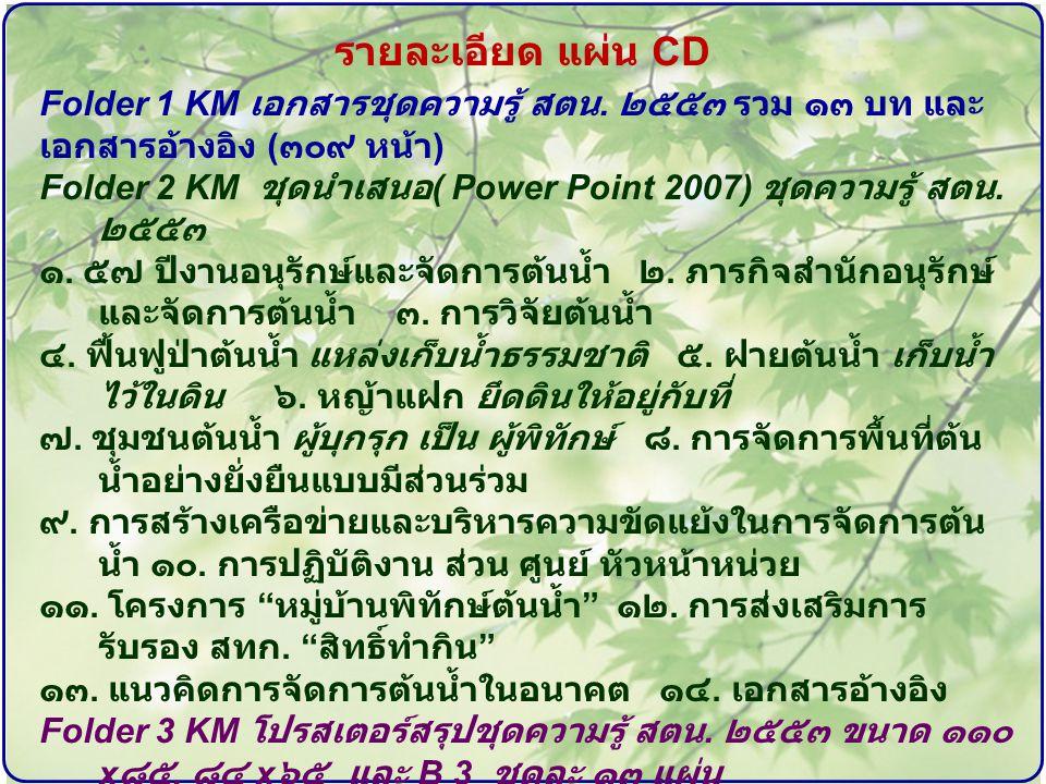 รายละเอียด แผ่น CD Folder 1 KM เอกสารชุดความรู้ สตน.
