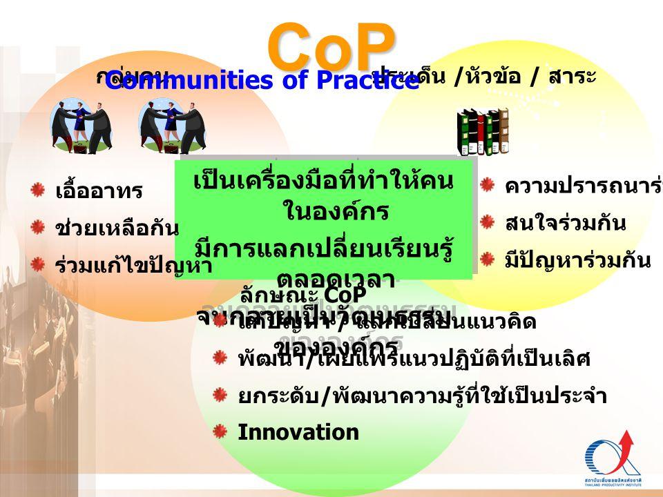 CoP เป็นเครื่องมือที่ทำให้คน ในองค์กร มีการแลกเปลี่ยนเรียนรู้ ตลอดเวลา จนกลายเป็นวัฒนธรรม ขององค์กร เป็นเครื่องมือที่ทำให้คน ในองค์กร มีการแลกเปลี่ยนเ