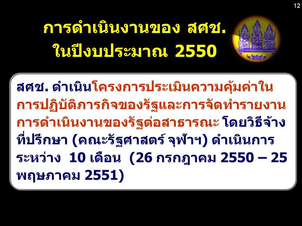 12 การดำเนินงานของ สศช.ในปีงบประมาณ 2550 สศช.