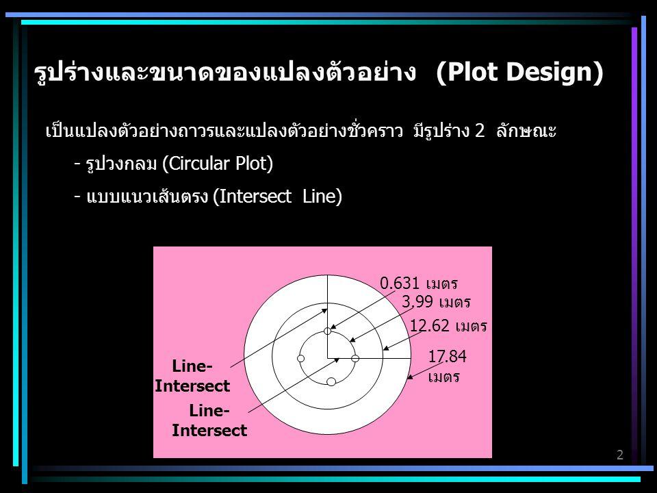 3 ขนาดของแปลงตัวอย่างและข้อมูลที่ทำการศึกษา รัศมีของวงกลม หรือ ความยาว (ม.) พื้นที่ หรือ ความยาว จำนวนข้อมูลที่ศึกษา 0.6310.0005 เฮกตาร์ 4 วงกล้าไม้ 3.990.0050 เฮกตาร์ 1 วงลูกไม้และการปกคลุมพื้นที่ ของกล้าไม้ และลูกไม้ 12.620.0500 เฮกตาร์ 1 วงไม้ไผ่ หวายที่ยังไม่เลื้อย และตอไม้ 17.840.1000 เฮกตาร์ 1 วงต้นไม้ และตรวจสอบปัจจัย ที่รบกวนพื้นที่ป่า 17.84 (เส้นตัดวงกลม) 17.84 เมตร 2 เส้นCoarse Woody Debris (CWD) หวาย เลื้อย และไม้เถา ที่ผ่านเส้นตัดวงกลม
