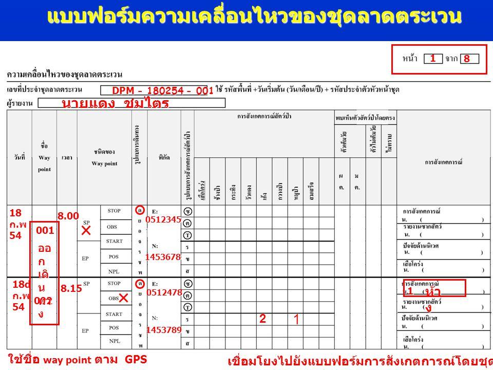 แบบฟอร์มรายงายซากสัตว์ เขตรักษาพันธุ์สัตว์ ป่าอมก๋อย 17 มกราคม 2553 OMK- 170153- 001 17 ม.