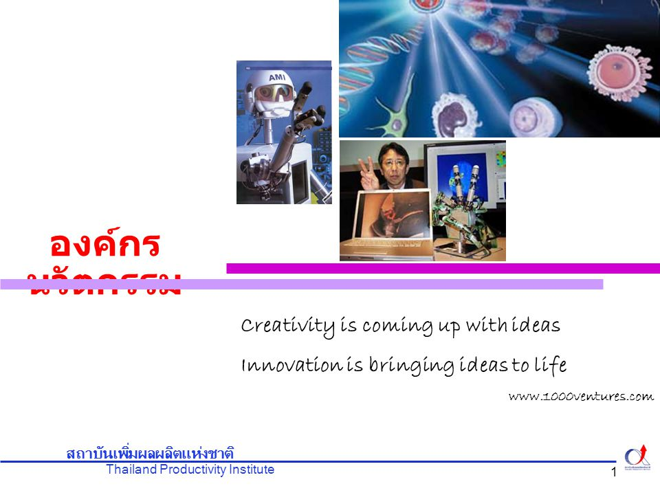 Thailand Productivity Institute สถาบันเพิ่มผลผลิตแห่งชาติ 12 การสนับสนุนของผู้บริหารระดับสูง Leading innovation was the most important thing they do for their organization การพัฒนาอย่างต่อเนื่องทั่วทั้งองค์กร ไม่ เฉพาะส่วนใดส่วนหนึ่งอีกต่อไป TQC – Total Quality Control Knowledge sharing การสร้างองค์กรนวัตกรรม