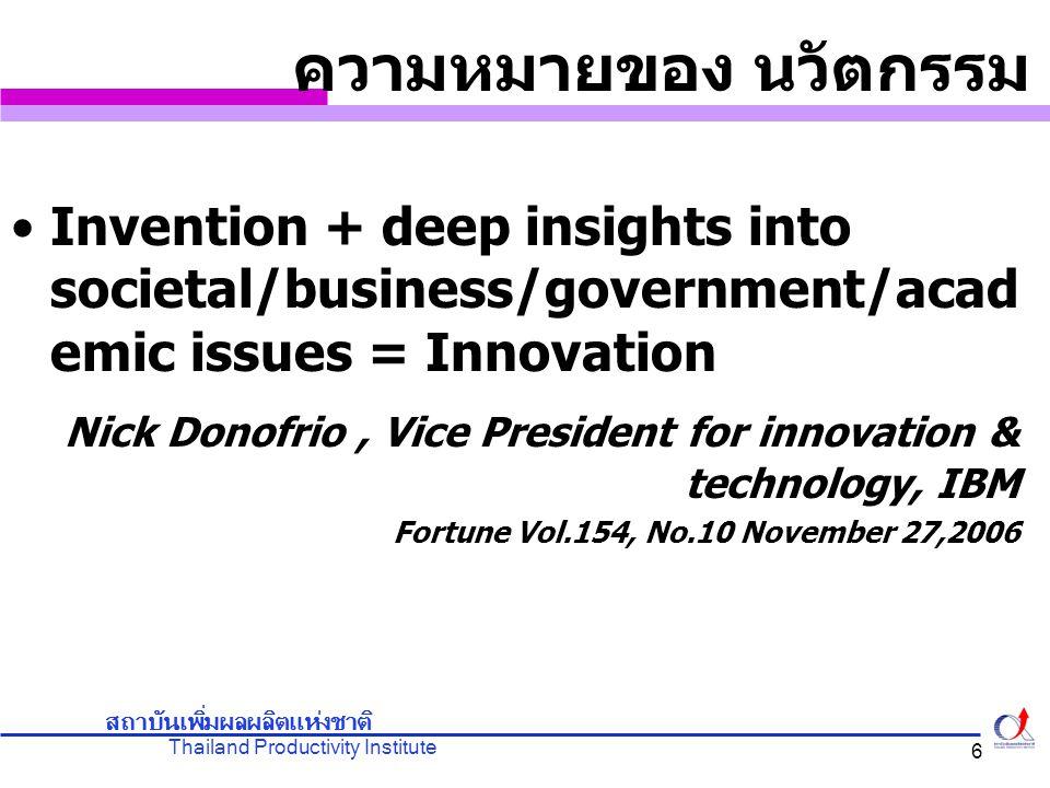 Thailand Productivity Institute สถาบันเพิ่มผลผลิตแห่งชาติ 7 นวัตกรรม Innovation คุณค่าที่เกิดจากการเชื่อมโยงของความรู้ และเทคโนโลยีด้านต่างๆ นวัตกรรมมีความสำคัญเพราะทำให้เกิด ผลิตภาพ (Productivity) ซึ่งส่งผลให้ เกิดการขยายตัวทางเศรษฐกิจ และ มาตรฐานการดำรงชีวิตที่สูงขึ้น Nick Donofrio, Vice President for innovation & technology, IBM Fortune Vol.154, No.10 November 27,2006