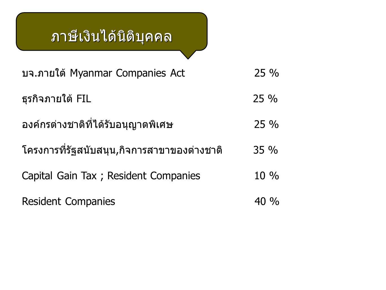 ภาษีเงินได้นิติบุคคล บจ. ภายใต้ Myanmar Companies Act 25 % ธุรกิจภายใต้ FIL 25 % องค์กรต่างชาติที่ได้รับอนุญาตพิเศษ 25 % โครงการที่รัฐสนับสนุน, กิจการ