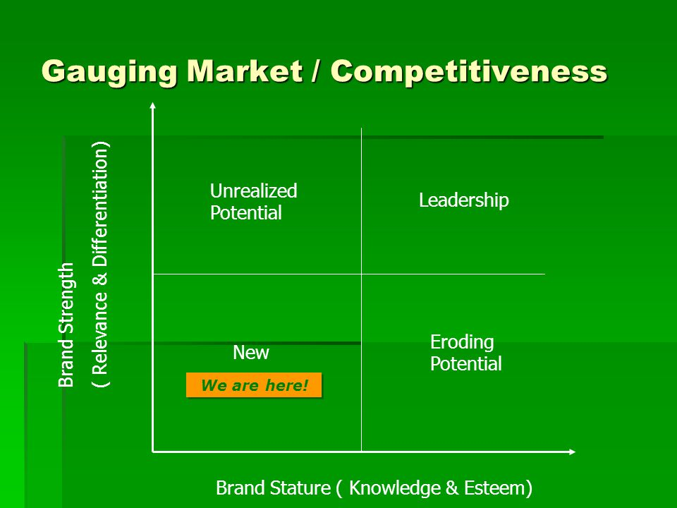 Gauging Market / Competitiveness Brand Stature ( Knowledge & Esteem) Brand Strength ( Relevance & Differentiation) We are here.