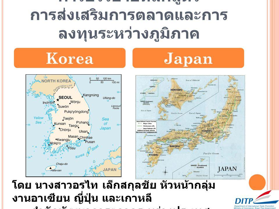 การบรรยายหลักสูตร การส่งเสริมการตลาดและการ ลงทุนระหว่างภูมิภาค KoreaJapan โดย นางสาวอรไท เล็กสกุลชัย หัวหน้ากลุ่ม งานอาเซียน ญี่ปุ่น และเกาหลี สำนักพั
