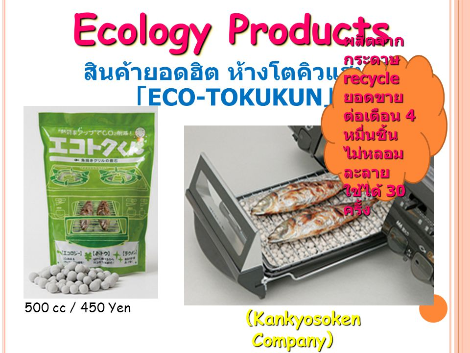 สินค้ายอดฮิต ห้างโตคิวแฮนด์ 「 ECO-TOKUKUN 」 Ecology Products 500 cc / 450 Yen ( Kankyosoken Company ) ผลิตจาก กระดาษ recycle ยอดขาย ต่อเดือน 4 หมื่นชิ้น ไม่หลอม ละลาย ใช้ได้ 30 ครั้ง