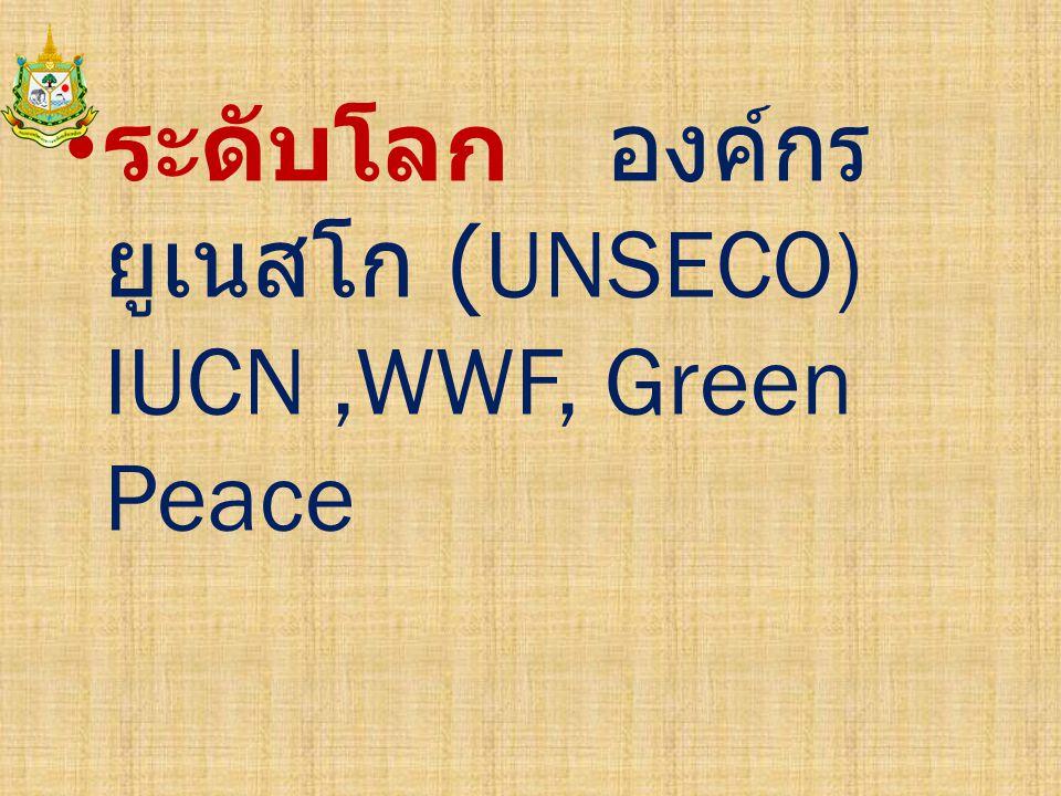 ระดับโลก องค์กร ยูเนสโก (UNSECO) IUCN,WWF, Green Peace