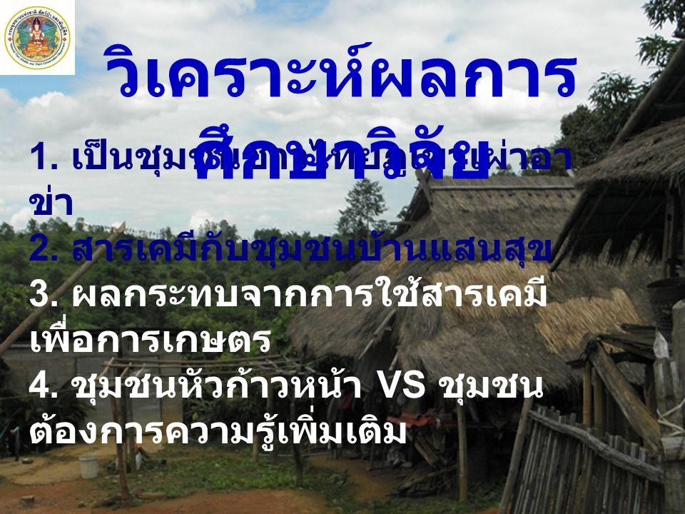 1.เป็นชุมชนชาวไทยภูเขาเผ่าอา ข่า 2. สารเคมีกับชุมชนบ้านแสนสุข 3.