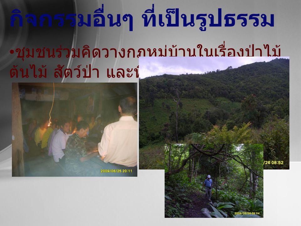 กิจกรรมอื่นๆ ที่เป็นรูปธรรม ชุมชนร่วมคิดวางกฎหมู่บ้านในเรื่องป่าไม้ ต้นไม้ สัตว์ป่า และที่ดินป่าไม้
