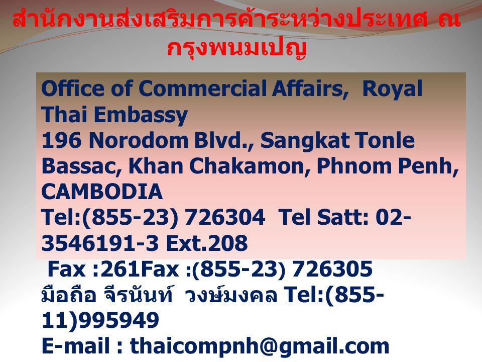 สำนักงานส่งเสริมการค้าระหว่างประเทศ ณ กรุงพนมเปญ Office of Commercial Affairs, Royal Thai Embassy 196 Norodom Blvd., Sangkat Tonle Bassac, Khan Chakamon, Phnom Penh, CAMBODIA Tel:(855-23) 726304 Tel Satt: 02- 3546191-3 Ext.208 Fax :261Fax :( 855-23 ) 726305 มือถือ จีรนันท์ วงษ์มงคล Tel:(855- 11)995949 E-mail : thaicompnh@gmail.com