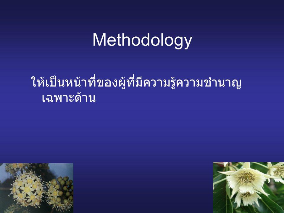 Methodology ให้เป็นหน้าที่ของผู้ที่มีความรู้ความชำนาญ เฉพาะด้าน