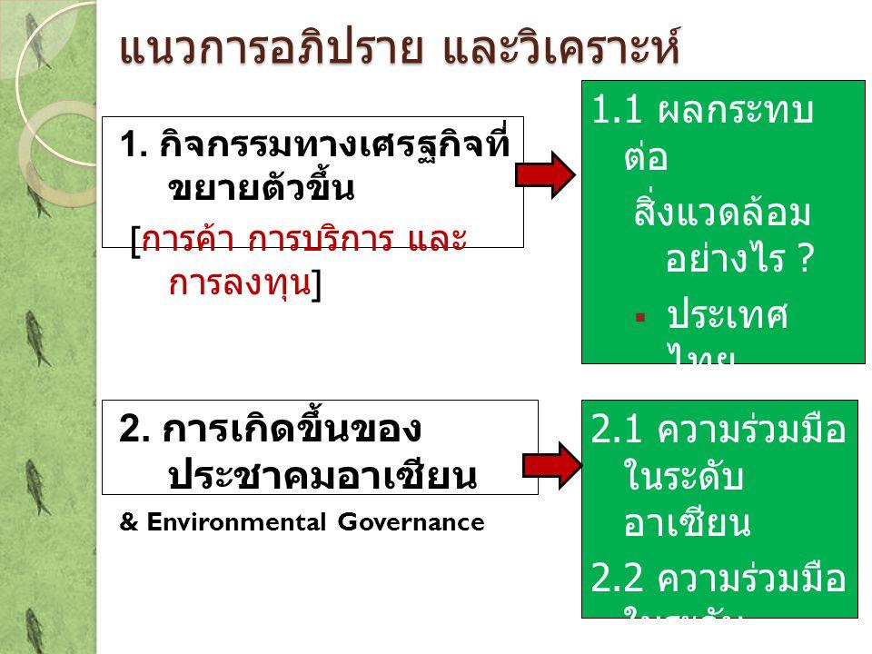แนวการอภิปราย และวิเคราะห์ 1. กิจกรรมทางเศรฐกิจที่ ขยายตัวขึ้น [ การค้า การบริการ และ การลงทุน ] 2. การเกิดขึ้นของ ประชาคมอาเซียน & Environmental Gove