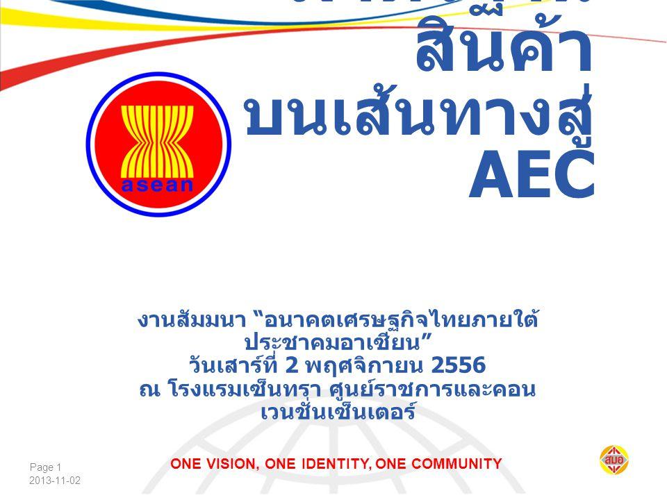 """2013-11-02 Page 1 งานสัมมนา """" อนาคตเศรษฐกิจไทยภายใต้ ประชาคมอาเซียน """" วันเสาร์ที่ 2 พฤศจิกายน 2556 ณ โรงแรมเซ็นทรา ศูนย์ราชการและคอน เวนชั่นเซ็นเตอร์"""