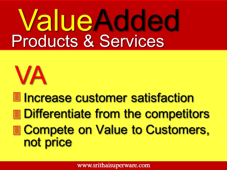 ValueAdded Increase customer satisfaction Differentiate from the competitors Compete on Value to Customers, VAVA Products & Services not price 3 3 3 w