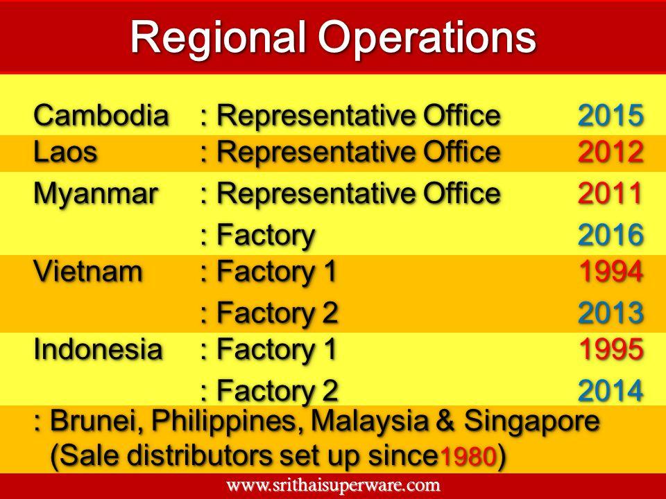 CambodiaCambodia : Representative Office 20152015 LaosLaos 20122012 MyanmarMyanmar 20112011 : Factory 20162016 VietnamVietnam : Factory 1 19941994 : F