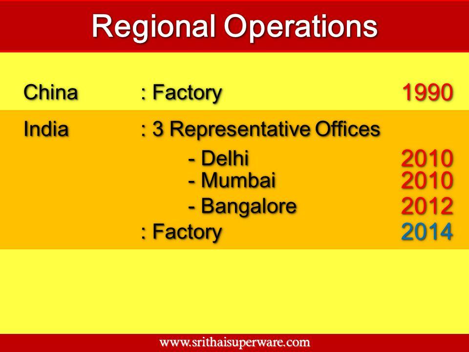 ChinaChina : Factory 19901990 IndiaIndia : 3 Representative Offices - Delhi 20102010 - Mumbai 20102010 - Bangalore 20122012 : Factory 20142014 www.sri
