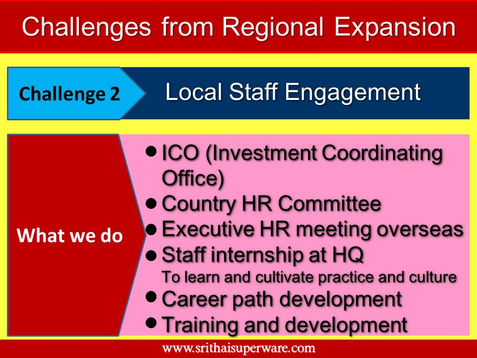Local Staff Engagement Challenge 2 ICO (Investment Coordinating Office) Country HR Committee Executive HR meeting overseas Staff internship at HQ To l