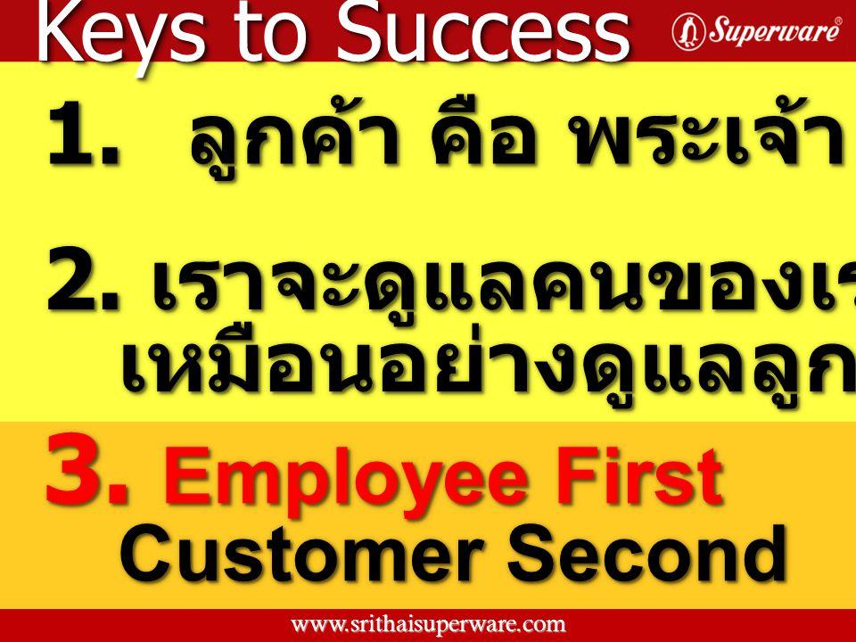 Keys to Success 1. ลูกค้า คือ พระเจ้า 2. เราจะดูแลคนของเราให้ดี เหมือนอย่างดูแลลูกค้า เหมือนอย่างดูแลลูกค้า 3. Employee First Customer Second 3. Emplo