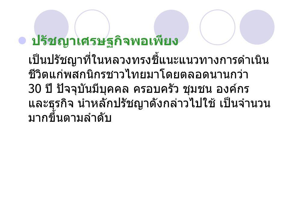 ปรัชญาเศรษฐกิจพอเพียง เป็นปรัชญาที่ในหลวงทรงชี้แนะแนวทางการดำเนิน ชีวิตแก่พสกนิกรชาวไทยมาโดยตลอดนานกว่า 30 ปี ปัจจุบันมีบุคคล ครอบครัว ชุมชน องค์กร และธุรกิจ นำหลักปรัชญาดังกล่าวไปใช้ เป็นจำนวน มากขึ้นตามลำดับ