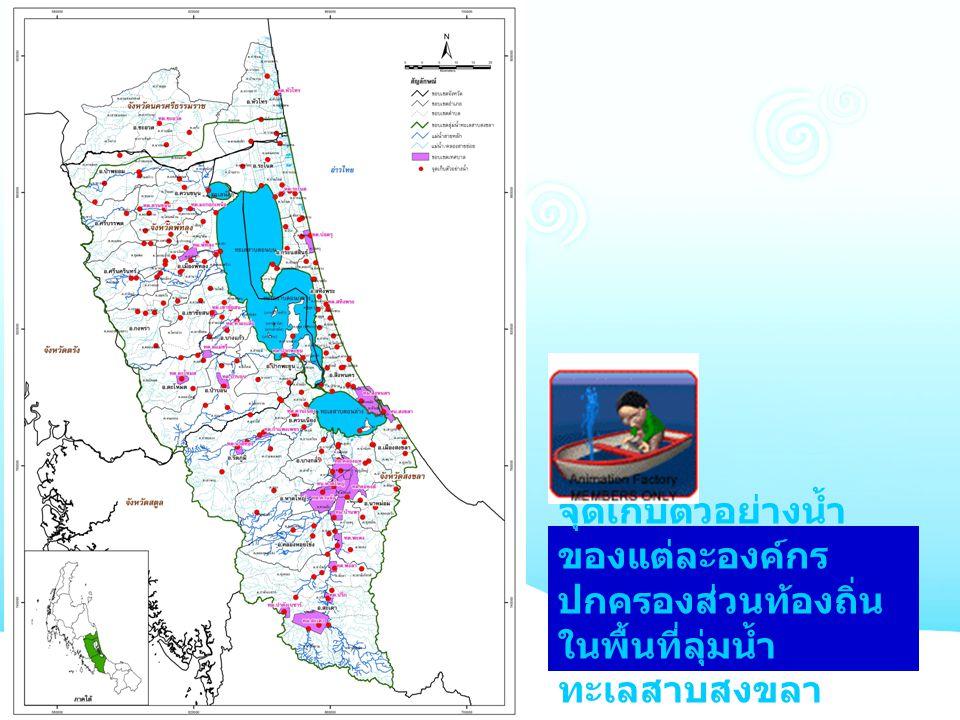 จุดเก็บตัวอย่างน้ำ ของแต่ละองค์กร ปกครองส่วนท้องถิ่น ในพื้นที่ลุ่มน้ำ ทะเลสาบสงขลา