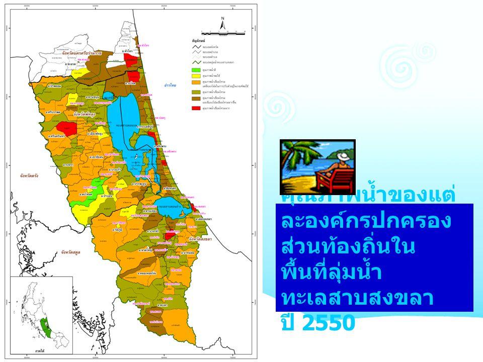คุณภาพน้ำของแต่ ละองค์กรปกครอง ส่วนท้องถิ่นใน พื้นที่ลุ่มน้ำ ทะเลสาบสงขลา ปี 2550