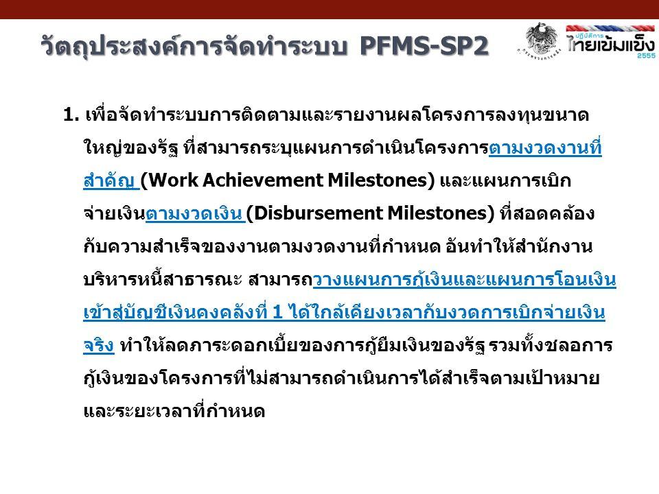 1. เพื่อจัดทำระบบการติดตามและรายงานผลโครงการลงทุนขนาด ใหญ่ของรัฐ ที่สามารถระบุแผนการดำเนินโครงการตามงวดงานที่ สำคัญ (Work Achievement Milestones) และแ