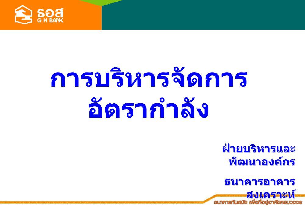 การบริหารจัดการ อัตรากำลัง ฝ่ายบริหารและ พัฒนาองค์กร ธนาคารอาคาร สงเคราะห์ 21 มีนาคม 2551