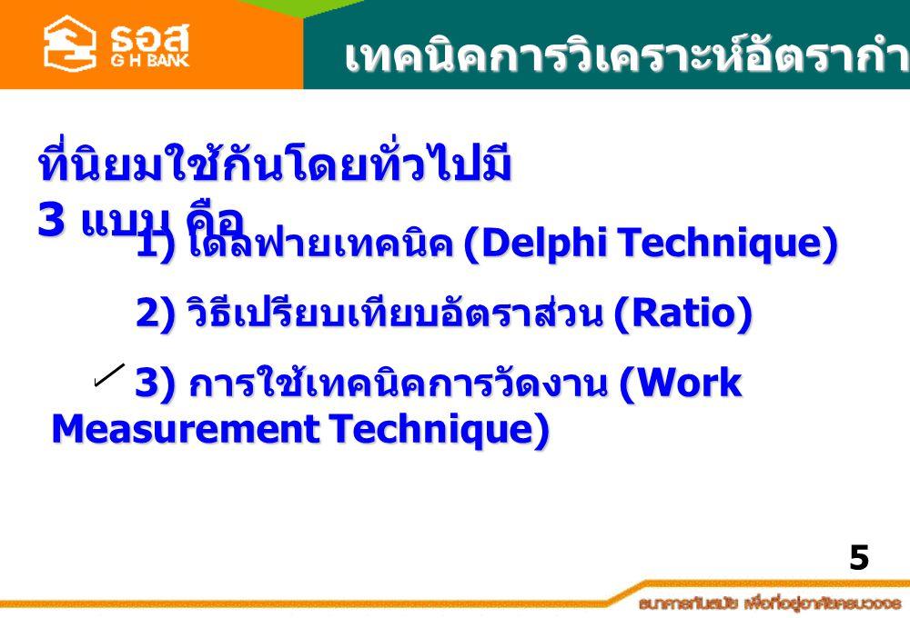 เทคนิคการวิเคราะห์อัตรากำลัง ที่นิยมใช้กันโดยทั่วไปมี 3 แบบ คือ 1) เดลฟายเทคนิค (Delphi Technique) 1) เดลฟายเทคนิค (Delphi Technique) 2) วิธีเปรียบเทียบอัตราส่วน (Ratio) 3) การใช้เทคนิคการวัดงาน (Work Measurement Technique) 5